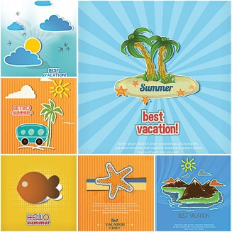 Summer vacation best island postcard set vector