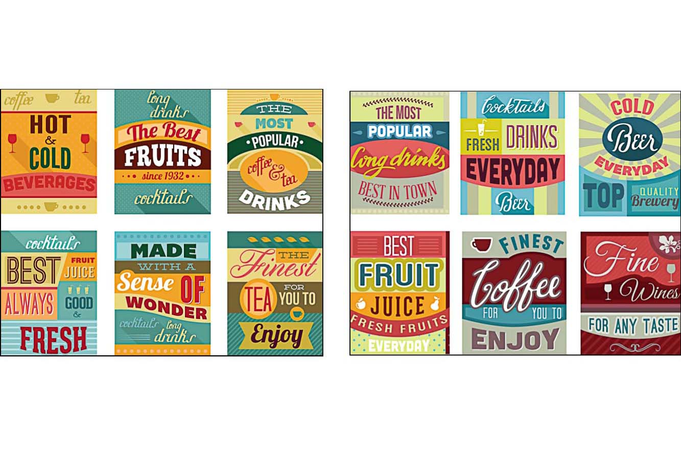 Poster with beverages cafe set vector