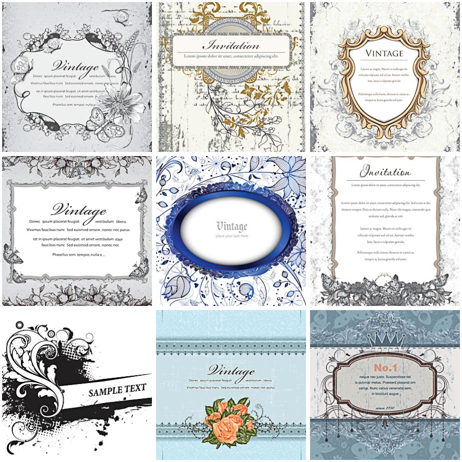 Vintage blue wedding invitation set vector