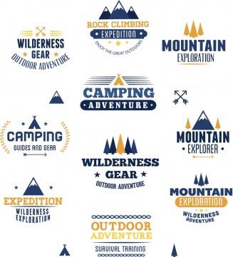 Outdoor adventures rock climbing badge set vector