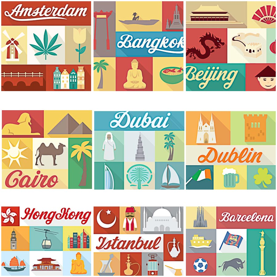 Traditional elements city set vector