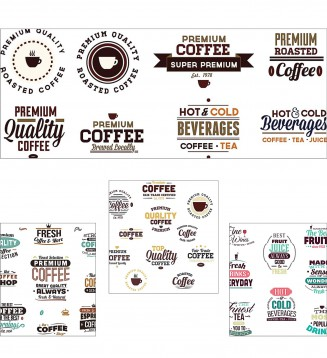 Beverages original badges coffee set vector