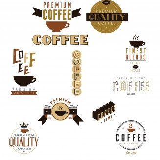 Coffee cafe design elements set vector
