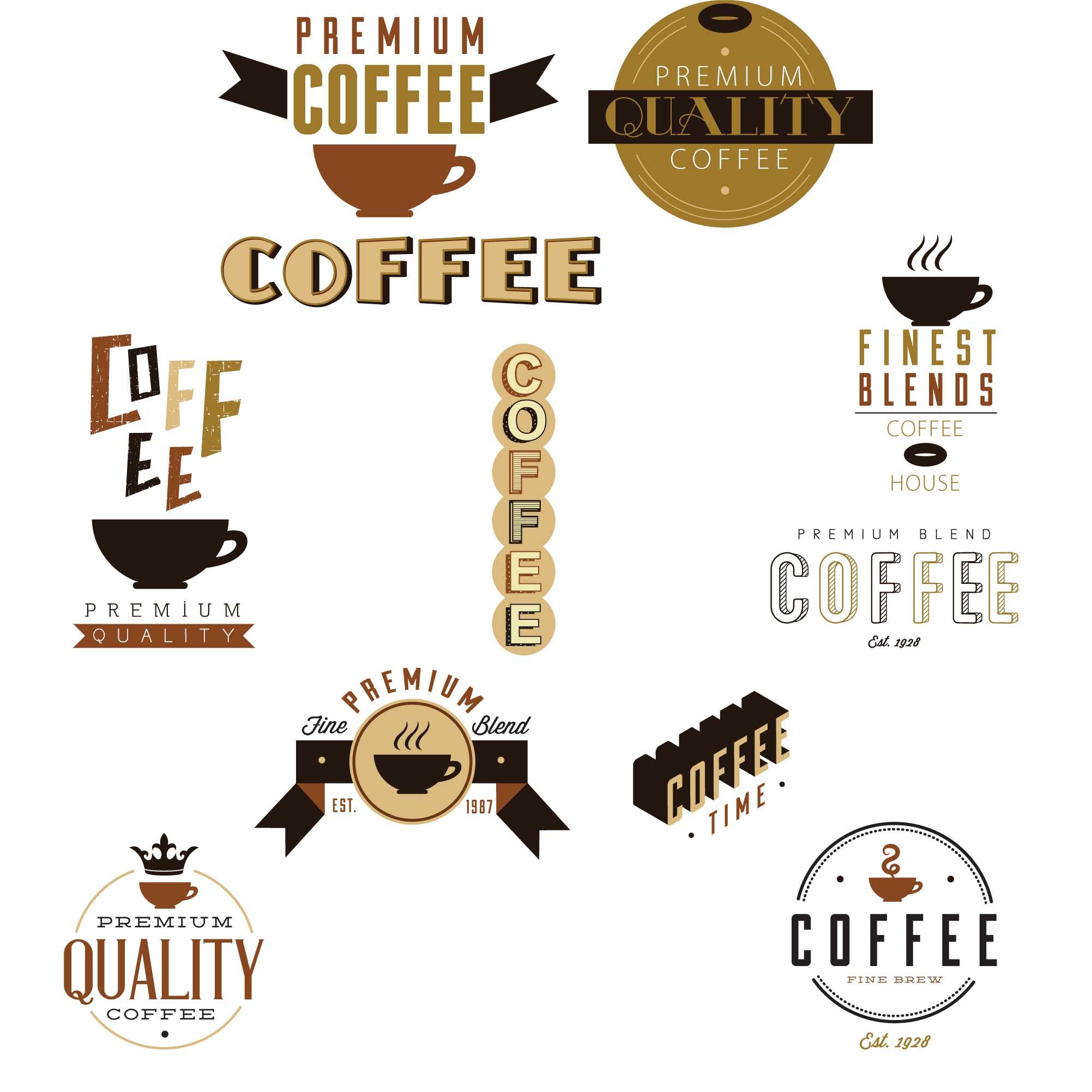Coffee cafe design elements set vector