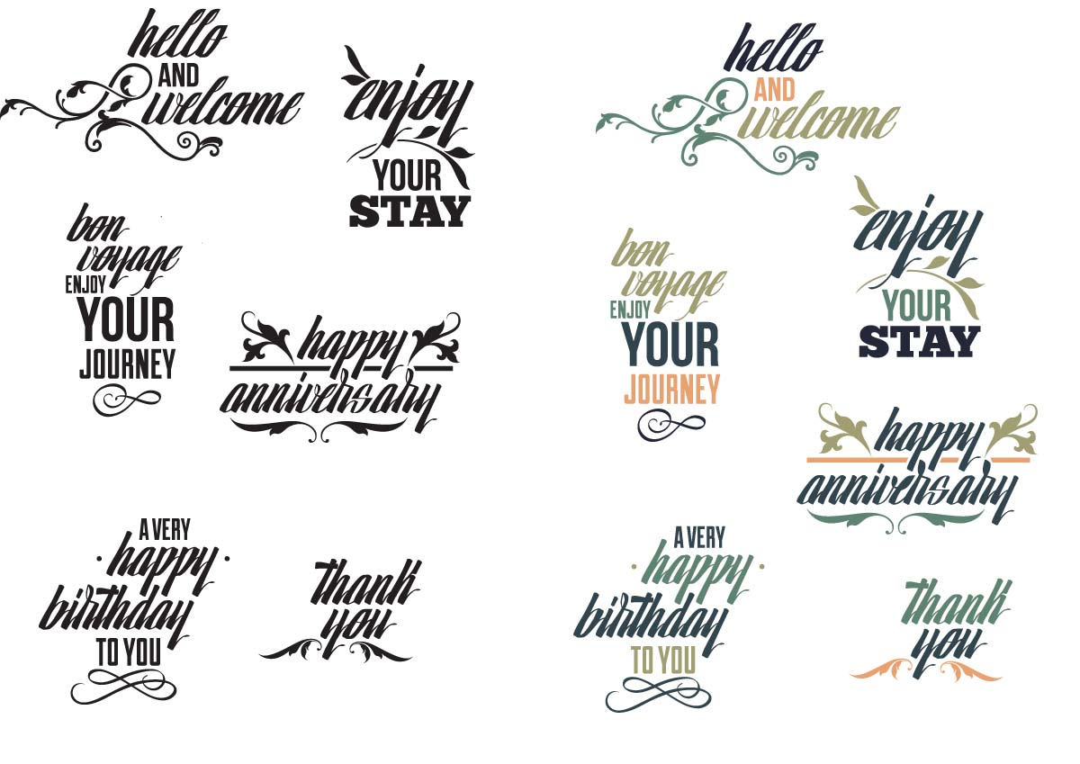 Popular phrases calligraphy set vector