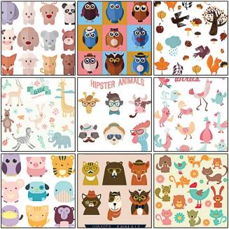 Cartoon animals and birds free set vector