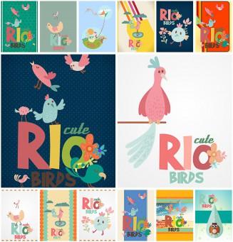 Rio birds cartoon cute set vector