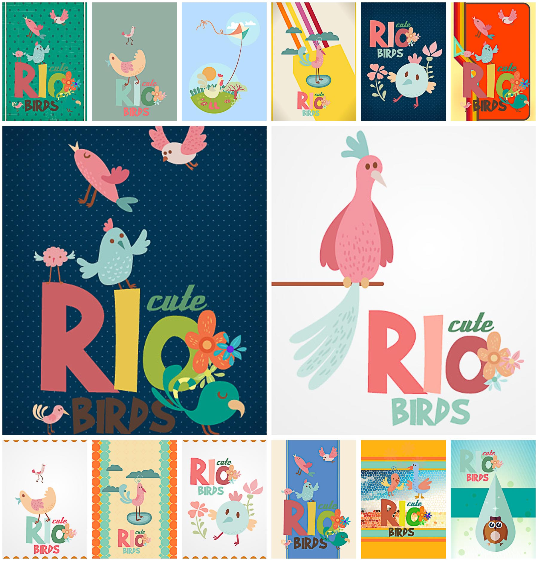 Rio birds cartoon cute set vector
