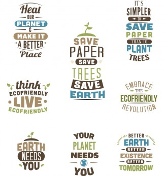 Save earth ecology print t-shirt set vector