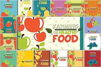 Fruits and vegetables farming food set vector