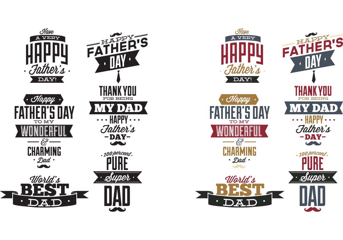 T-shirt print for father's day gift set vector