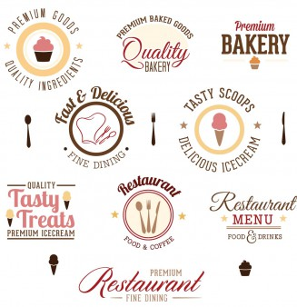 Logo design restaurant bakery set vector