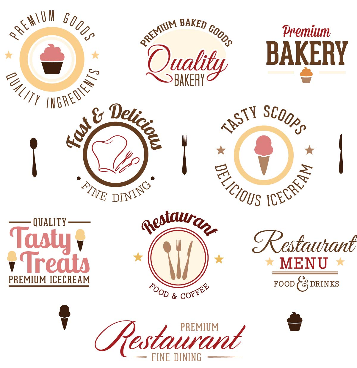 Fine dining logo design set vector free download
