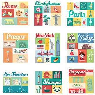 Cities traditional elements flat set vector