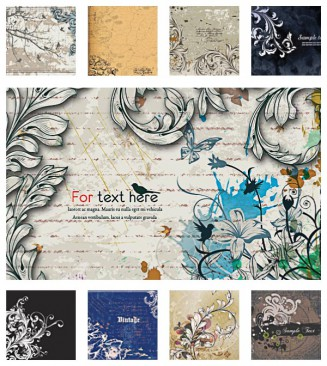 Vintage floral swirls background set vector