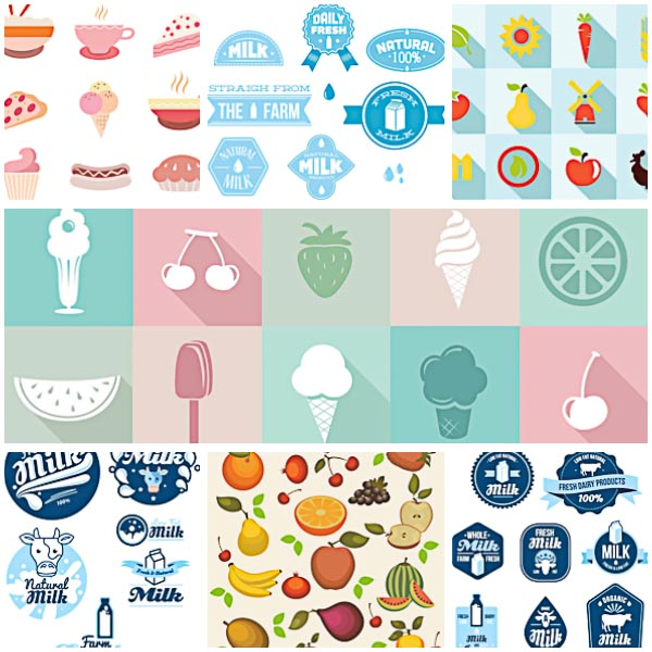Flat food badges milk logo set vector