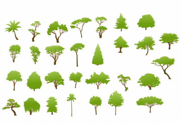 Trees green template set vector