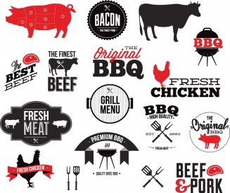 BBQ original grill restaurant set vector
