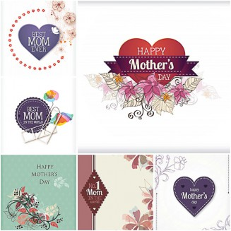Mother's day cute gift card set vector