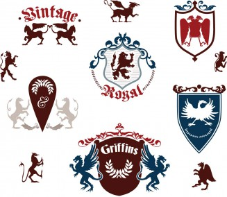 Griffin and shield heraldic elements set vector