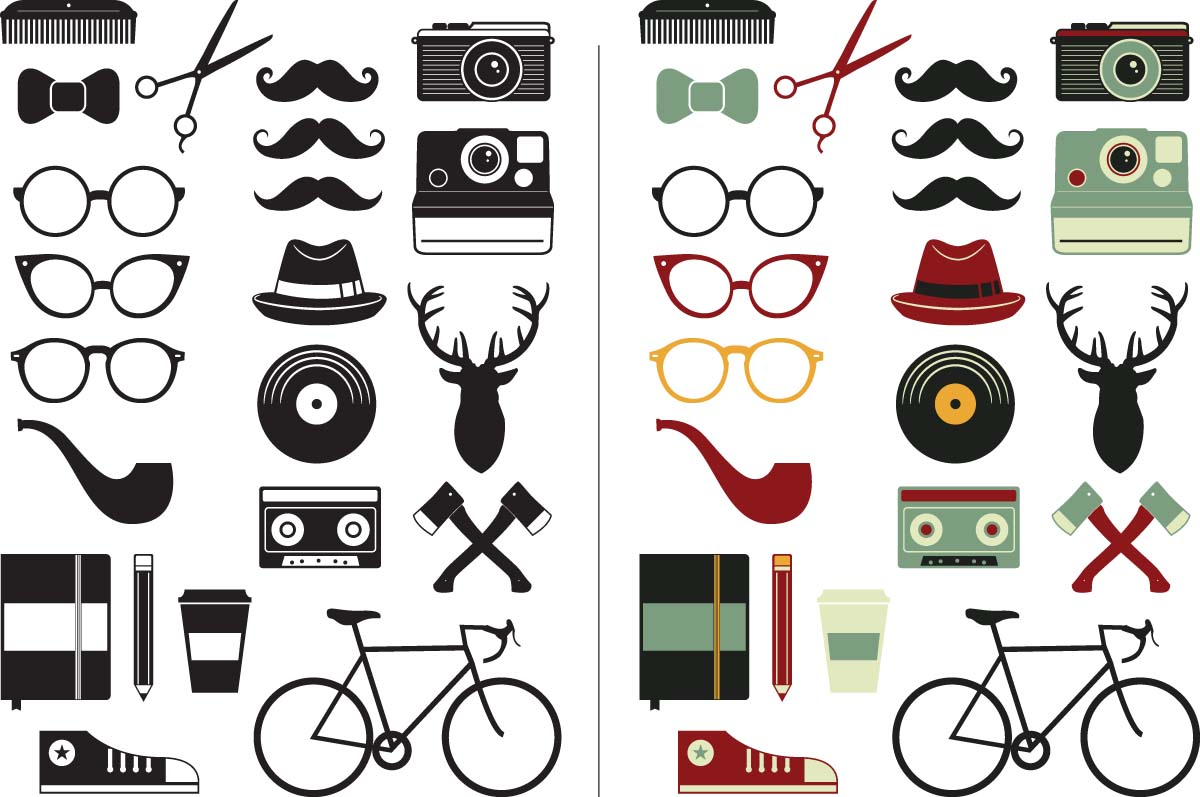 Hipster retro elements glasses set vector
