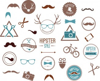 Hipster style fashion set vector