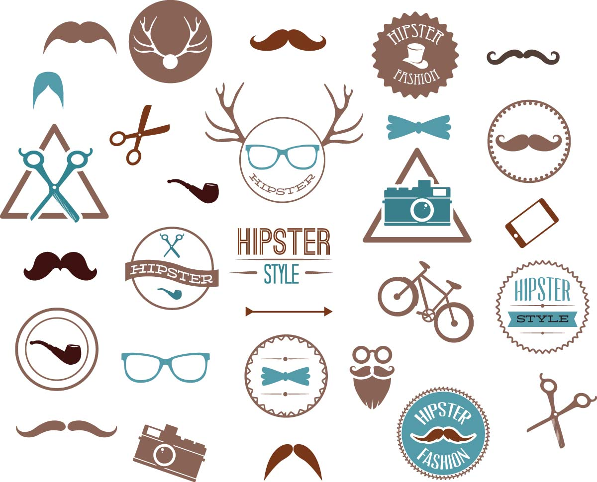Hipster fashion set vector | Free download