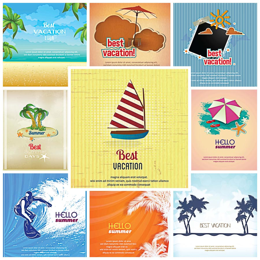 Summer vacation best card holiday set vector