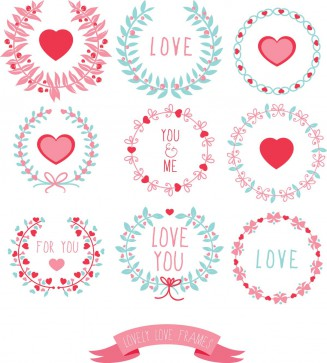 Love lovely frame wreath floral set vector
