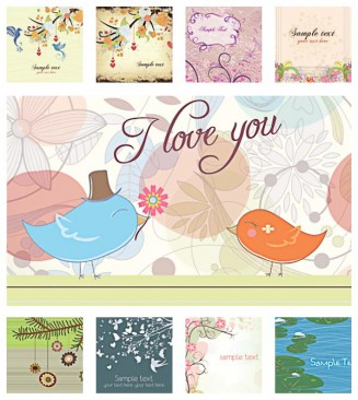 Light floral spring background set vector