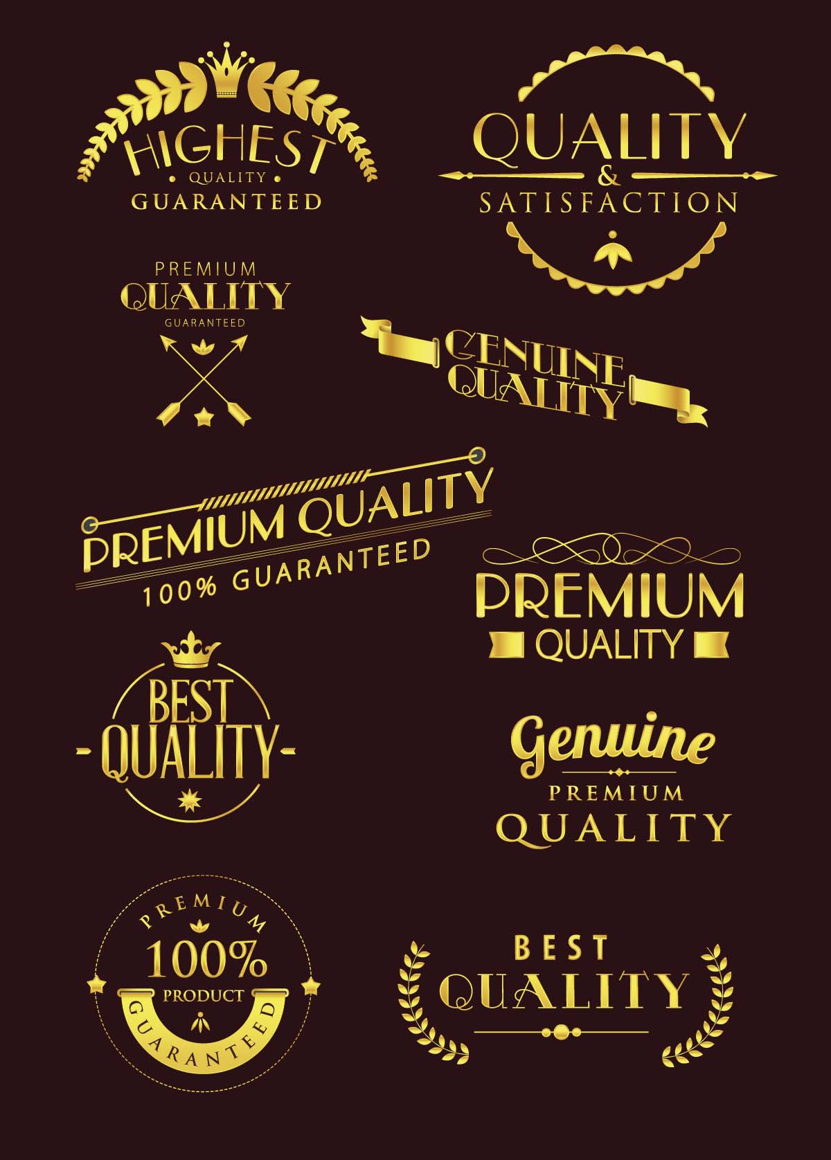 Premium typography label vector
