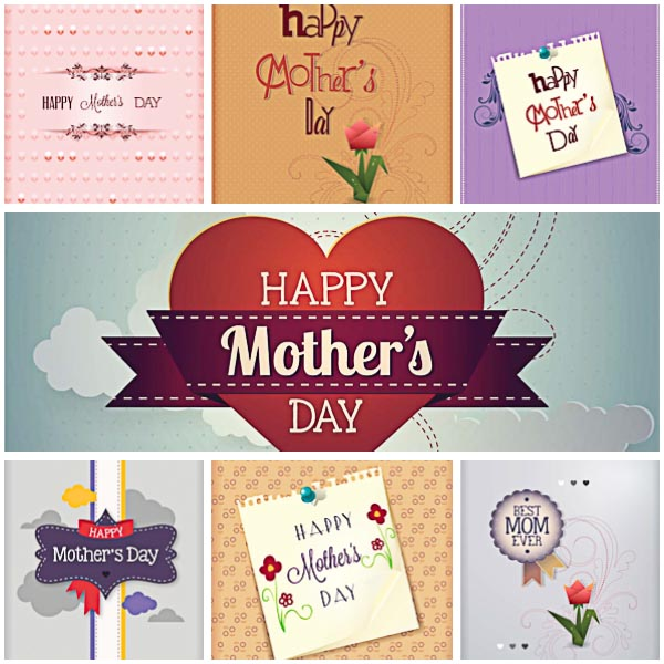 Mother's Day floral modern card set vector