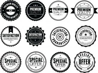 Clean and simple black badges sale shop set vector