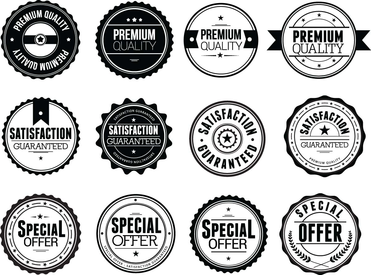 Clean and simple black badges sale shop set vector