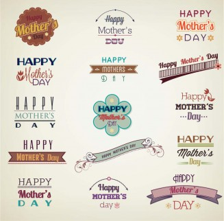 Decorative elements for Mother's Day set vector