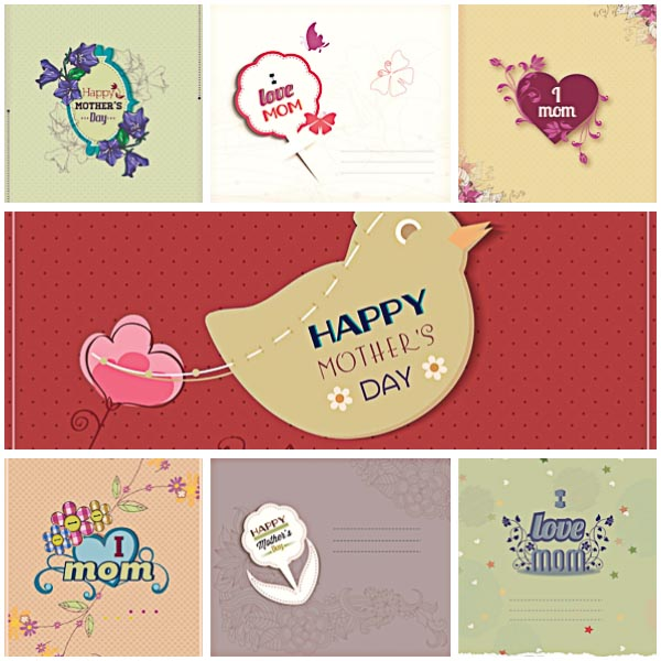 mother's day floral postcard set vector