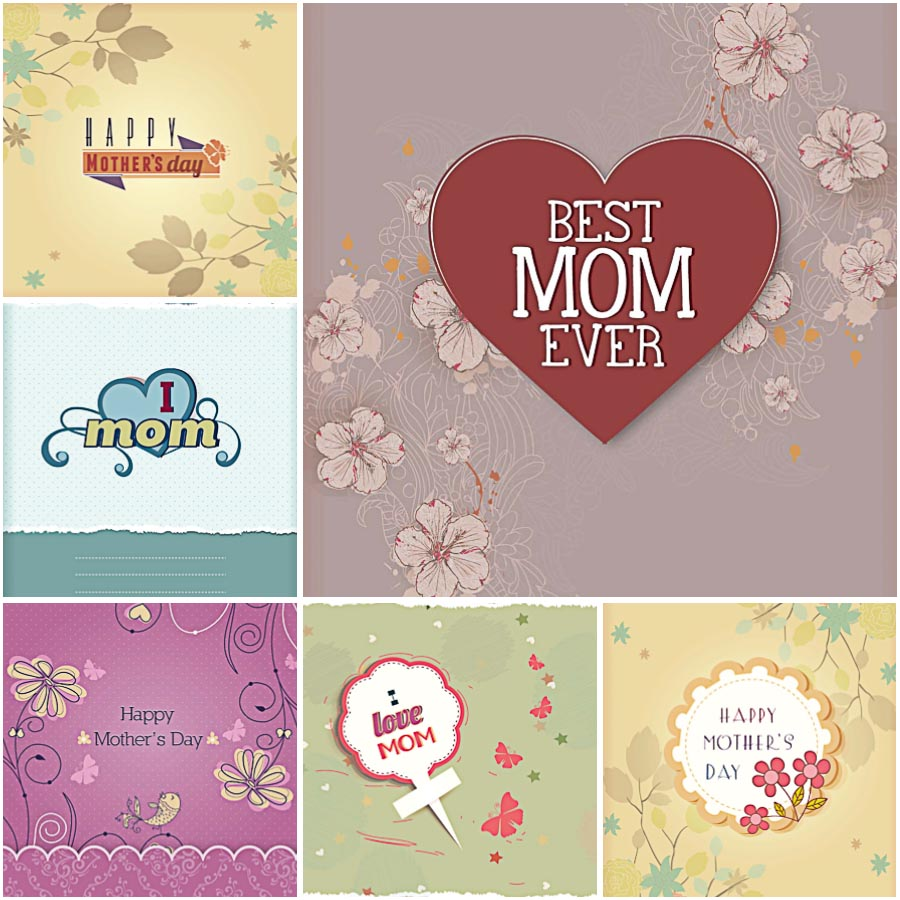 Best mom ever card for Mother's day set vector