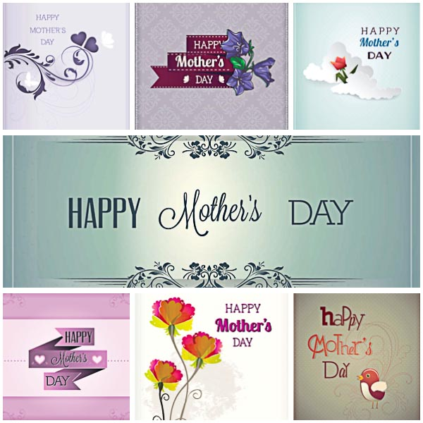 Mother's day lovely gift card set vector