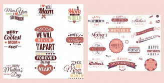 Mother's Day pink postcard label set vector