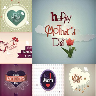 Postcards for Mother's Day cute set vector