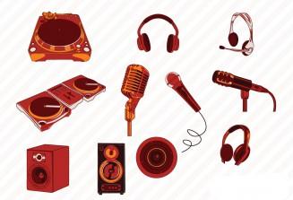 Music speakers set vector