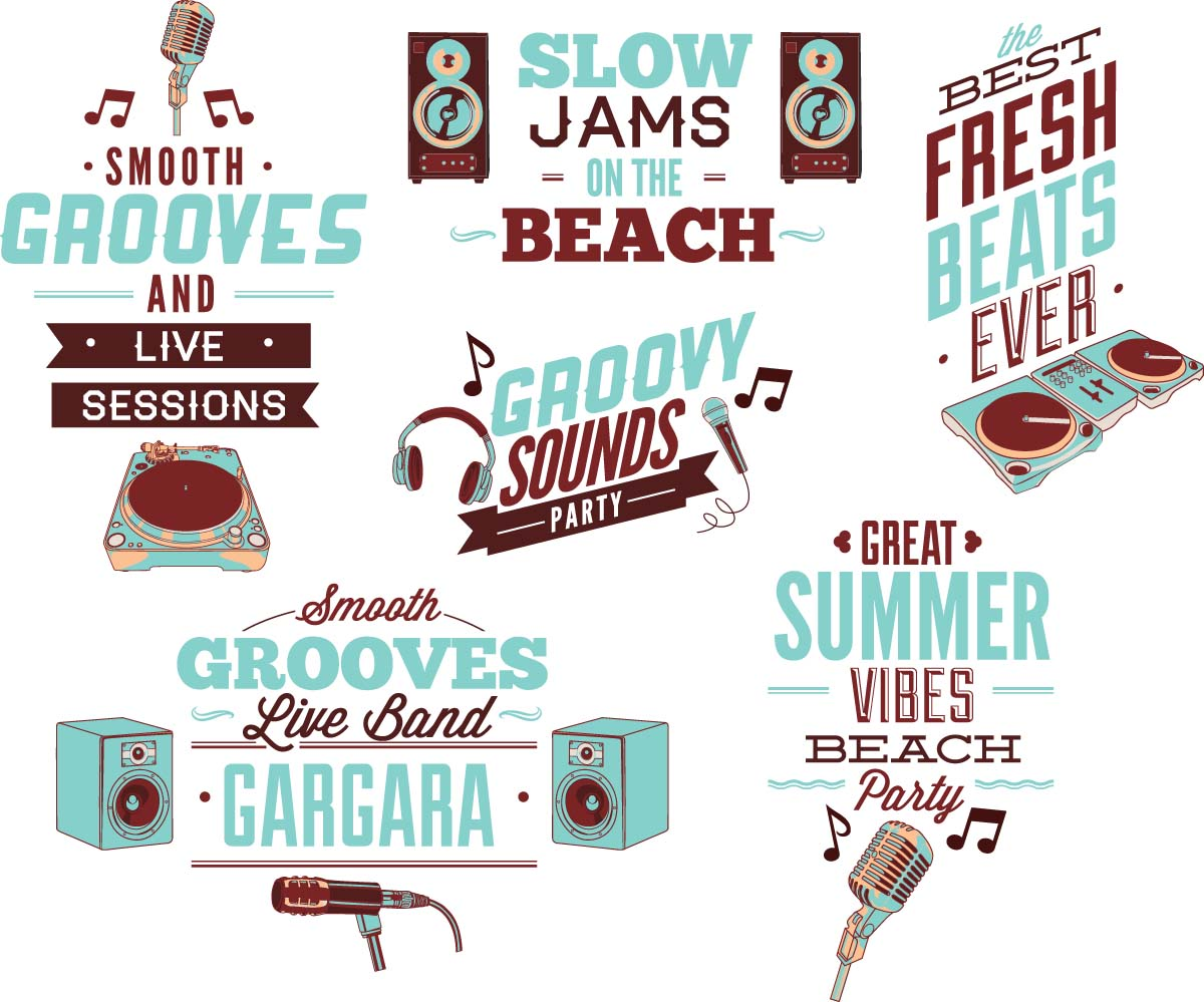 Summer vibes music groove set vector