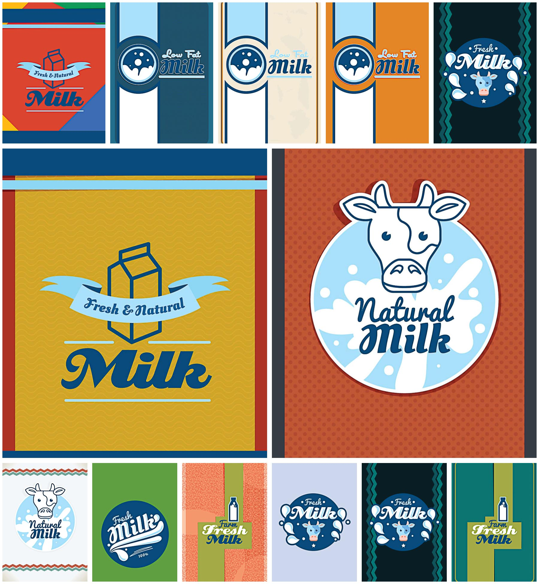 Milk poster shop set vector