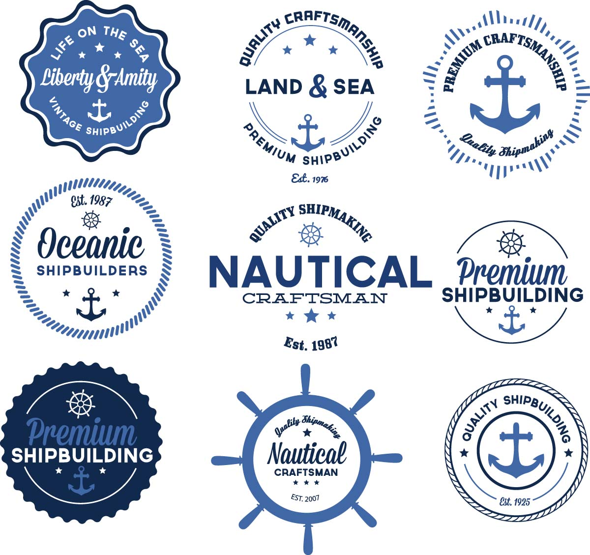 Nautical badges anchor set vector