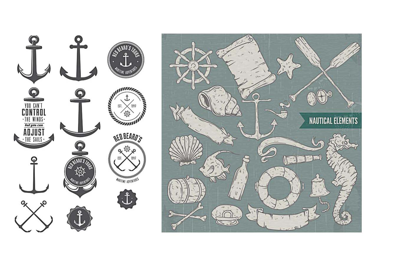 Decorative nautical elements print set vector