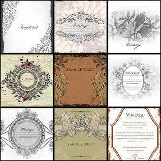Old decorative invitations roses set vector