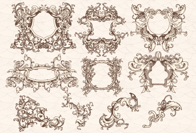 Floral vintage frames with swirls set vector