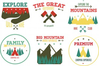 Outdoors tourism camping flat emblems set of fire camp illustration set vector