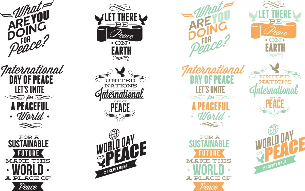 International day of peace typography set vector