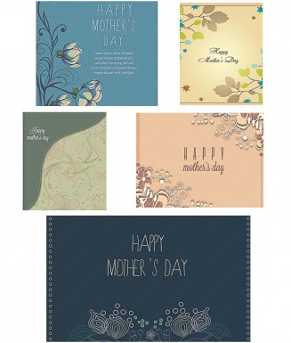 Floral Mother's day lovely card set vector
